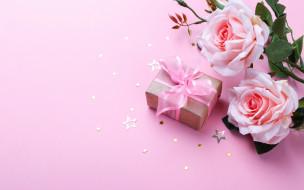 звездочки, подарок, розы