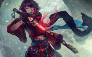 обои для рабочего стола 3840x2400 видео игры, final fantasy xiv, девушка, фон, взгляд, меч, униформа