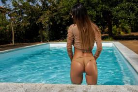 татуировка, вода, бассейн, поза, крашеная, брюнетка, красотка, модель, девушка, Justyna