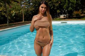 вода, татуировка, бассейн, поза, крашеная, брюнетка, красотка, модель, девушка, Justyna