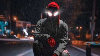 мультфильм, постер, человек-паук через вселенные