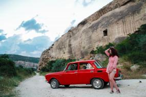 автомобиль, классика, красный, девушка, Москвич- 2140