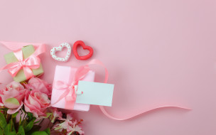 подарки, розы, сердечки, банты
