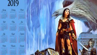 девушка, воительница, оружие, скелет, птица, доспехи