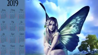 цветок, девушка, фея, крылья, дерево