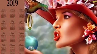 лицо, птица, цветы, кольцо, шляпа, девушка