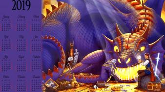календари, фэнтези, сокровище, сундук, игра, карты, мужчина, дракон