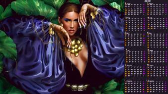 календари, фэнтези, растение, макияж, украшение, взгляд, девушка