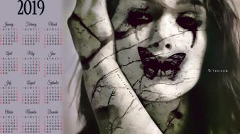календари, фэнтези, девушка, лицо, бабочка, рана