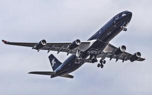 аэробус, аэробус а340, облака, самолет, серый, пассажирский самолет, авиалайнер