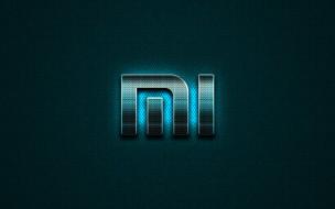 xiaomi, металлический фон, синий, логотип, творческий, бренды