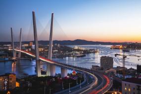 владивосток, города, - мосты, город, мост, вечер, огни, золотой, рог