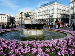 города, мадрид , испания, цветы, фонтан