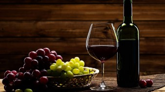 бутылка, бокал, вино, виноград