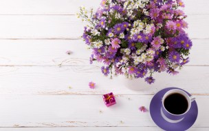 букет, цветы, кофе