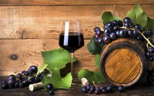 бокал, виноград, бочка, вино
