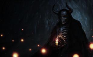 фон, череп, рога, огонь, скелет