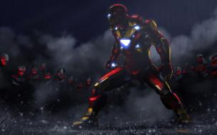 Железный Человек, Тони Старк, дождь, клоны