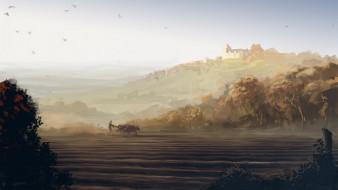 холмы, быки, поле, замок