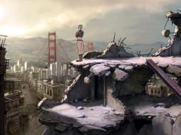 мост, развалины, город, девушка