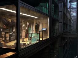 здание, окна, комната, девушка