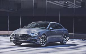hyundai sonata, парковка, корейские автомобили, премиум класс, новая модель, 2019