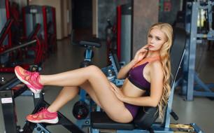 спорт, фитнес, фон, девушка, взгляд