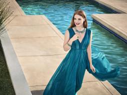 бассейн, украшения, платье, улыбка, рыжая, актриса