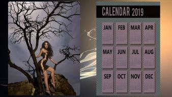 календари, девушки, девушка, дерево, платье