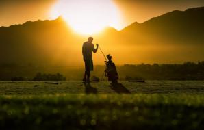 закат, свет, гольф