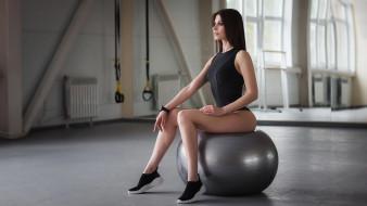 спорт, фитнес, фон, мяч, взгляд, девушка