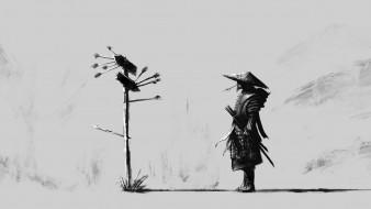 указатель, стрелы, самурай