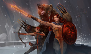 девушки, униформа, оружие, медведь