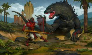 мужчина, фон, динозавр, замок, униформа