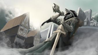 маска, меч, горн, фон, мужчина
