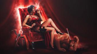 арбалет, сигарета, кресло, платье, фон, мужчина, девушка
