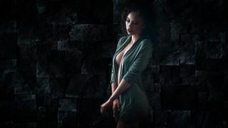 Инна Хазова, темный фон, скромность, халатик