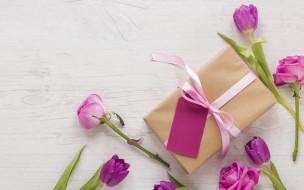 лепестки, тюльпаны, розы, подарок