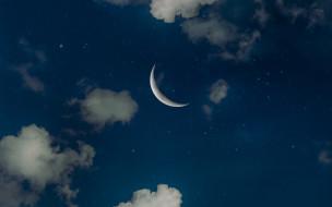 облака, луна