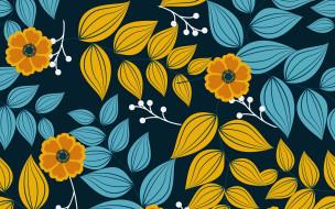 листья, узор, цветы, синий, фон