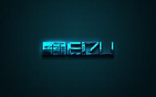 синий, эмблема, meizu, бренды, синий арт, креатив, логотип