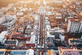 вид с воздуха, городской вид, литва, каунас, город