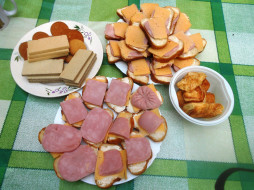 еда, сыр, вафли, бутерброды, хлеб, колбаса, печенье, пирожные