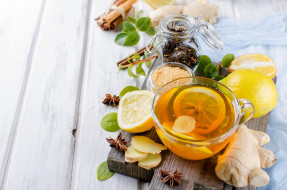 чай, лимон, имбирь