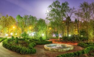 фонари, Сахалин, фонтан, Россия, кусты