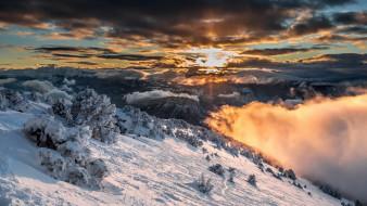 горы, зима, небо