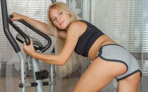 спорт, фитнес, взгляд, девушка, фон