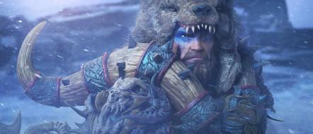 мужчина, рог, фон, взгляд, голова, медведь