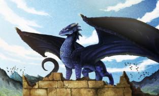 небо, дракон, крылья, развалины, горы