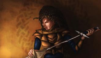 меч, девушка, фон, дреды, тату